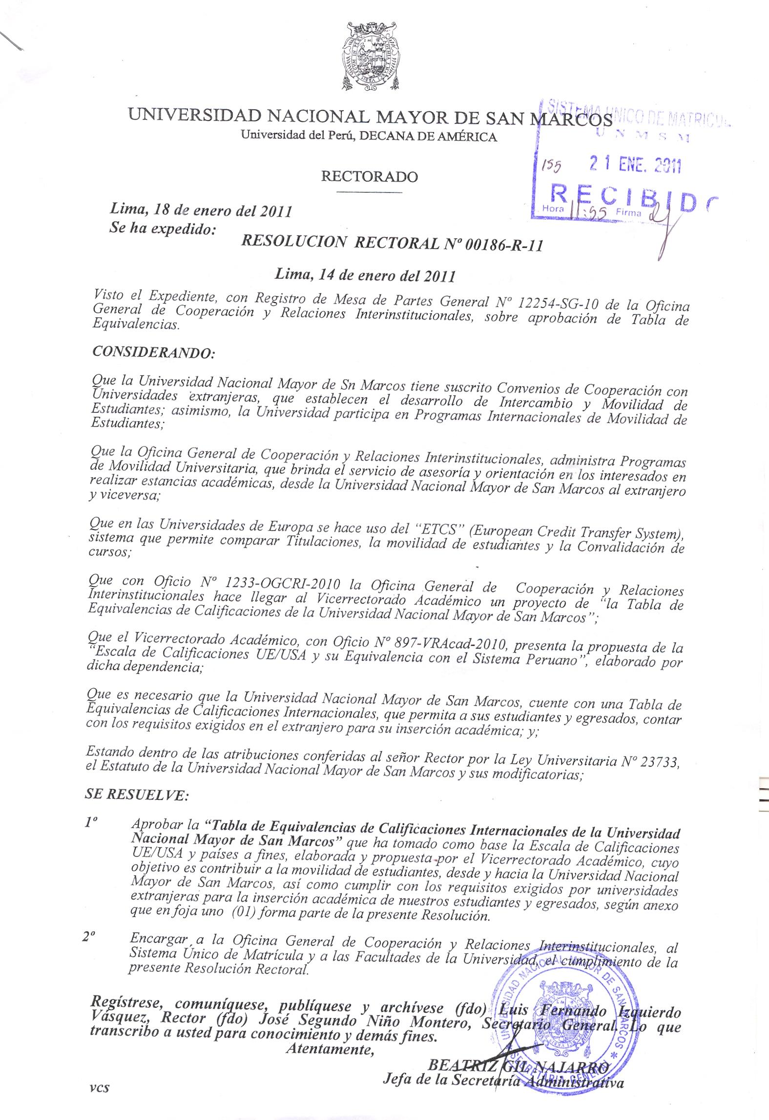 Resoluciones   Sistema Único de Matrícula